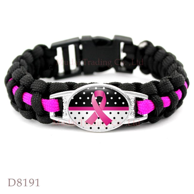 (10 PCS/lot) Breast Cancer Awareness Paracord Bracelets Survival Bracelet Womens Ladies Sports Girls Bracelets Black Pink Cord.