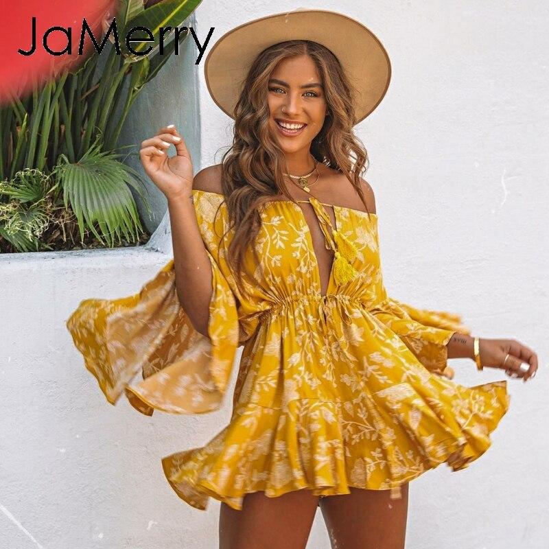 JaMerry Boho off shoulder sexy   jumpsuit   romper women Long sleeve tassel lace up overalls Bohemian   jumpsuit   summer beach playsuit