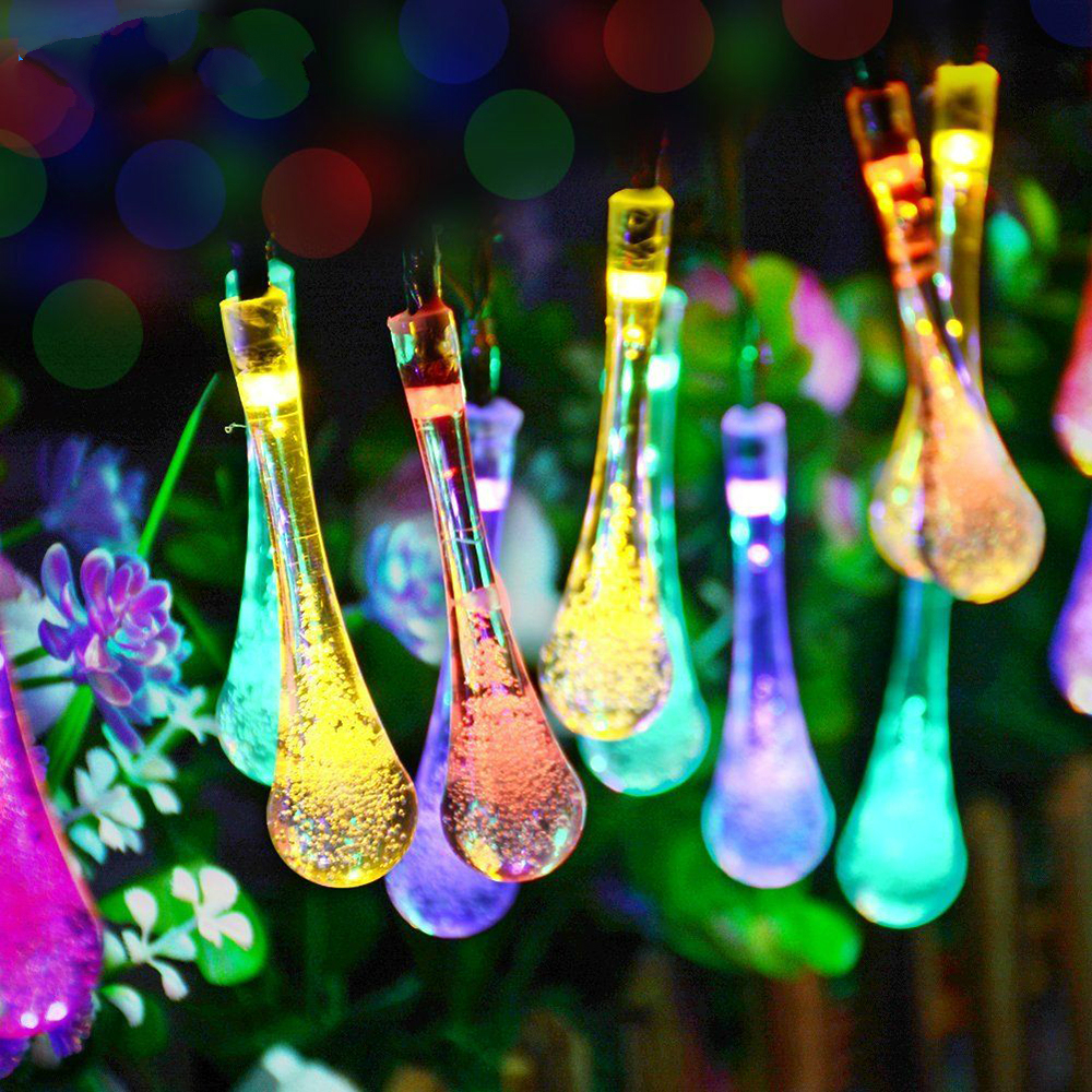 LED Solar christmas lights outdoor 4.5V Water Dorp ball string warm New Years garland holiday wedding party decorative lightsLED Solar christmas lights outdoor 4.5V Water Dorp ball string warm New Years garland holiday wedding party decorative lights