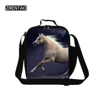ZRENTAO children polyester cooler bags crossbody thermal insulated lunch bags for working zipper horse picnic food containers