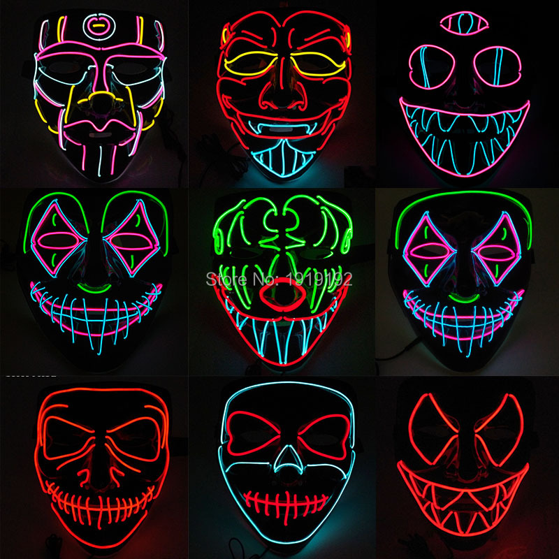 <font><b>Terror</b></font> with blood Predator Mask Scary Party Mask for Halloween Luminous Masquerade Dancing Carnival Glow Party Supplies image
