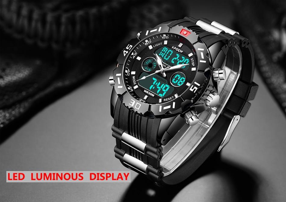 a8072ffd4a6 HPOLW Marca Militar Relógios Desportivos Homens Eletrônica Digital LED  Relógio de Pulso À Prova D  Água Esporte Choque Homens Relógio Relogio  masculinoUSD ...