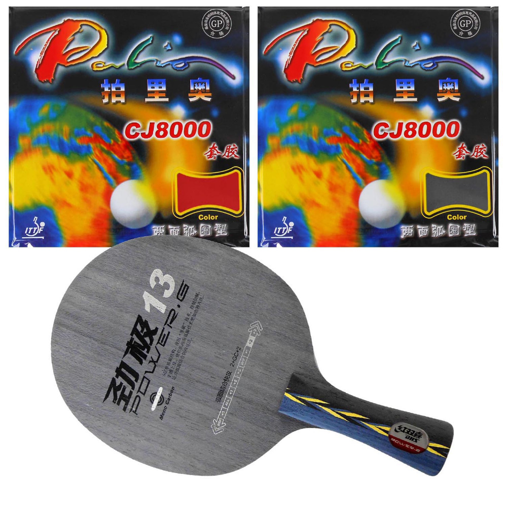 Original Pro Table Tennis Combo Racket: DHS POWER.G13 Blade with 2x Palio CJ8000 (2-Side Loop) Rubbers Shakehand Long Handle FL pro table tennis pingpong combo racket dhs power g7 blade with 2x palio ak 47 red matt rubbers shakehand long handle fl