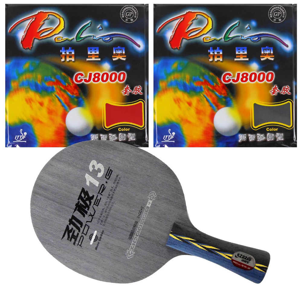 Original Pro Table Tennis Combo Racket: DHS POWER.G13 Blade with 2x Palio CJ8000 (2-Side Loop) Rubbers Shakehand Long Handle FL