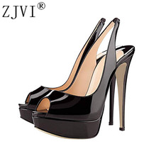 ZJVI woman sexy peep toe sandals ladies 16cm thin high heels shoes for women summer patent leather sandal back strap sandalias 2017 spring and summer black high heels sandal patent leather platform shoes t strap sandals size 11 for women