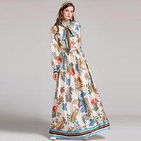 High Quality 2017 Autumn Runway Maxi Dresses Plus Size Women S Long Sleeve Elegant Bow Fashion