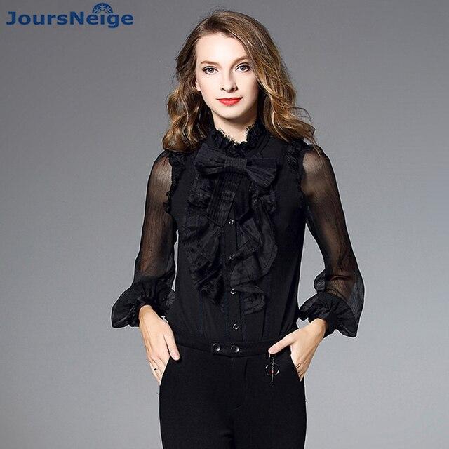 ee9d2b04dffa36 High End Women Satin Silk Blouse Shirt 2017 New Autumn Fashion Long Sleeve Ruffle  Collar Real