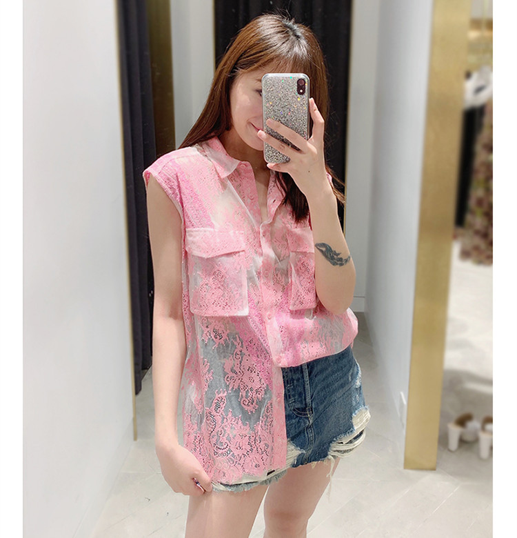 Brand new design lace blouses women summer sleeveless Shirts Chic pockets Tops shirt A382