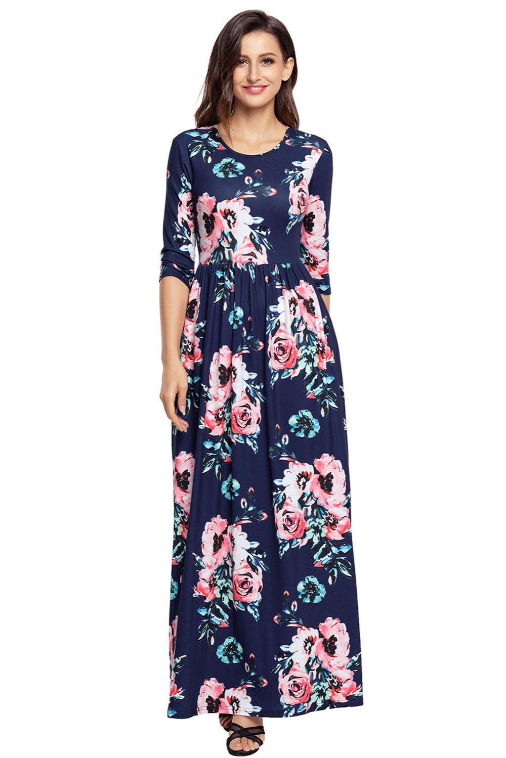 124a96eaa1 Women Autumn Classic Floral Print 3/4 Long Sleeve Maxi Dress Fashion Casual  Boho Pleated Plus Size XXL Dresses With Pockets
