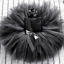 Чёрное платье пачка для девочек, детские пышные тюлевые балетные пачки с бантом для волос, Детские вечерние платья на Хэллоуин, карнавальный костюм с кошкой, платья