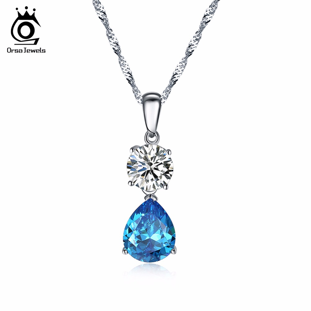 ORSA JEWELS New Fashion Silver Necklaces for Women with Charm Water Drop Blue Cubic Zirconia Special Gift Pendant Necklace ON120