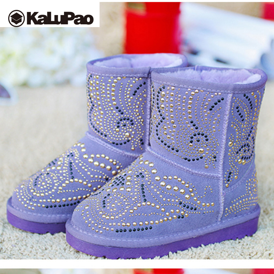 Kalupao winter boots girls genuine leather snow boots mid calf girls anti slip shoes for teenage girls rubber boots woolen