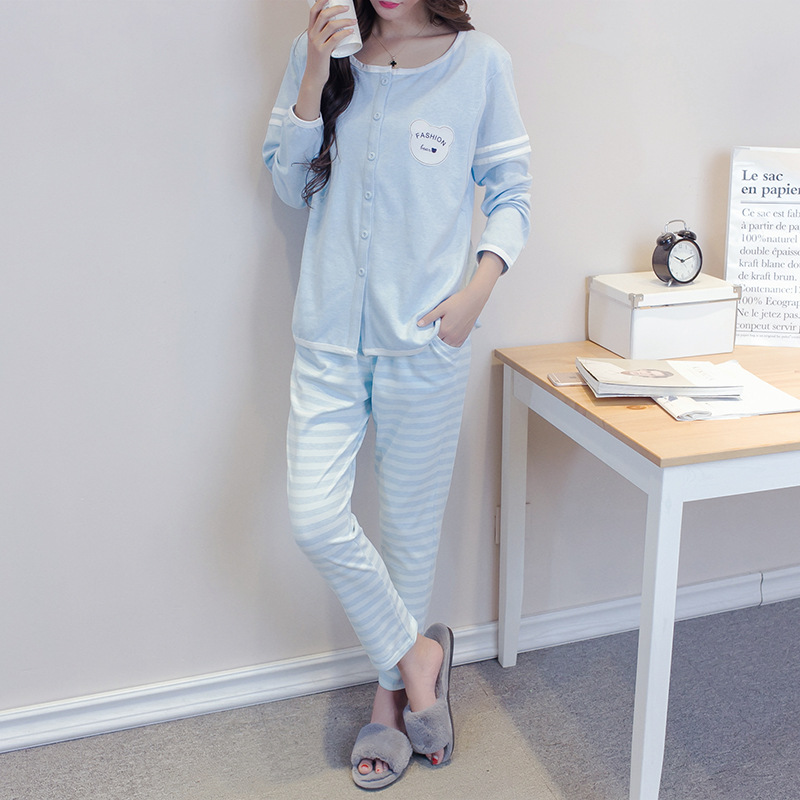 Spring Autumn Cotton Nursing Pajamas Sets Pregnant Women Postpartum Feeding Home Clothes Set H15 cotton materinty nursing pajamas long sleeve pijamalar hamile plaid pajamas set maternity sleepwear for pregnant women 50m084