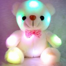 20-22 CM Creative Light Up LED White Bear Stuffed Animals Plush Toy Colorful Glowing Plush Stuffed Bear Christmas Gift for Kids