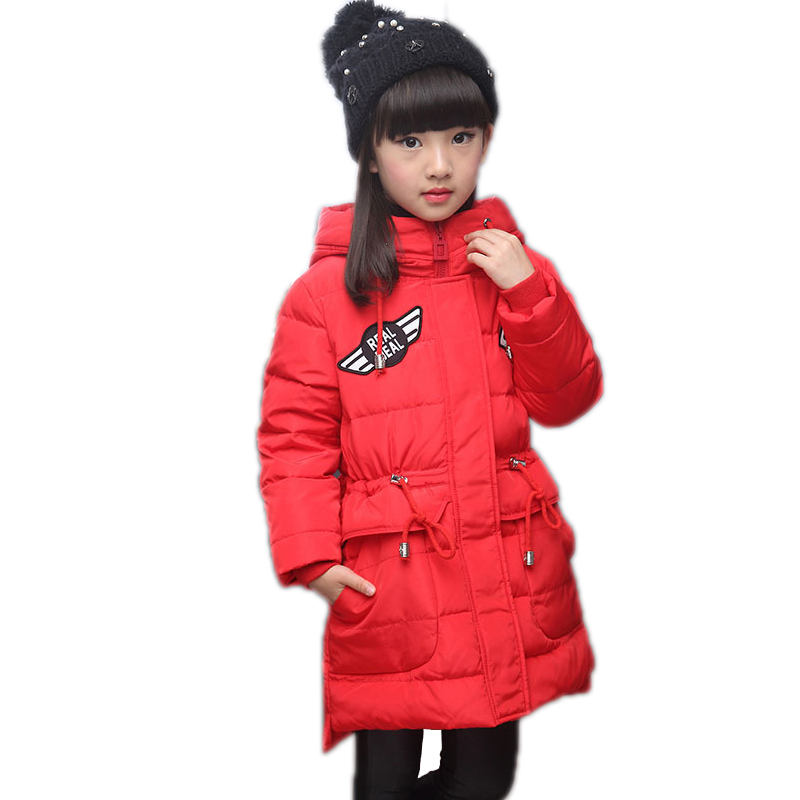 Girls Long Coat 2018 New Winter 80% Down Girls Coat Thick Hooded Duck Down Children Solid Jacket Medium-long Kids Girls Parkas 2017 new winter fashion women down jacket hooded thick super warm medium long female coat long sleeve slim big yards parkas nz18