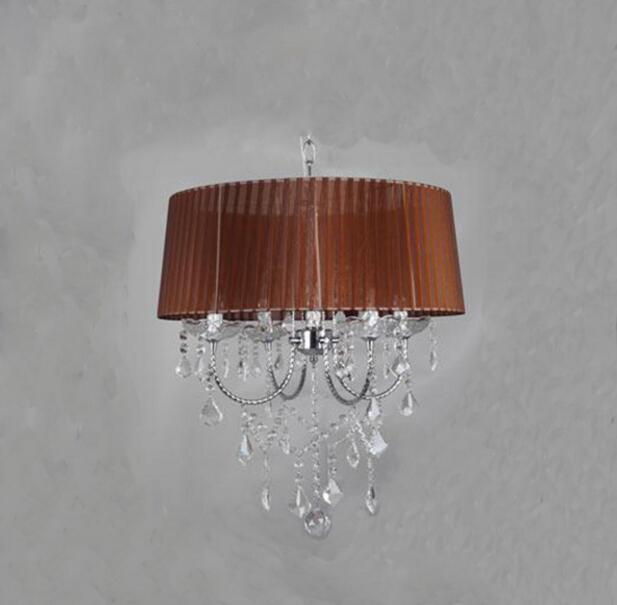 Осветительная лампа, подвесные светильники, светодиодная Хрустальная спальня, благородная Роскошная лампа, дымоход e14, лампа, стеклянная основа, светодиодная лампа, модный абажур XU - Цвет корпуса: brown