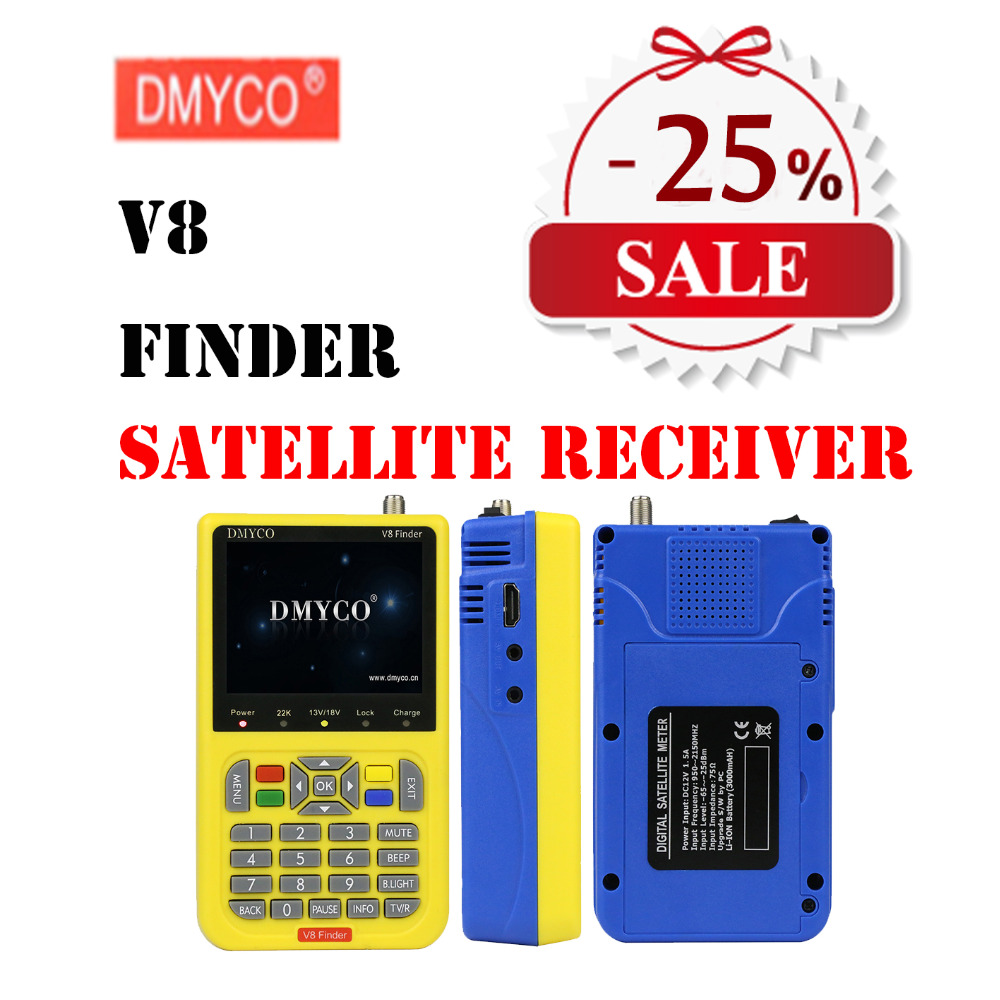 V8 Finder Satellite Finder DMYCO V8 finder meter DVB-S/S2 Satellite SatFinder MPEG-2/MPEG-4 High Definition Satelite Finder t winner luxury brand skeleton mechanical hand wind watch men casual sports leather strap gold fashion clock relogios masculino