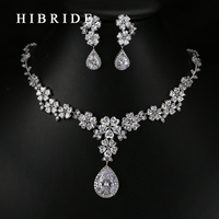 HIBRIDE Luxury Style Pear Cut Australian Crystal Pendants Necklace Earrings Gold Plated Bridal Women Wedding Jewelry