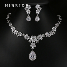 HIBRIDE Luxury Style Pear Cut Australian Crystal Pendants Necklace Earrings Rhodium Bridal Women Wedding Jewelry Sets