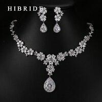 HIBRIDE Luxury Style Pear Cut Australian Crystal Pendants Necklace Earrings Rhodium Bridal Women Wedding Jewelry Sets N 66