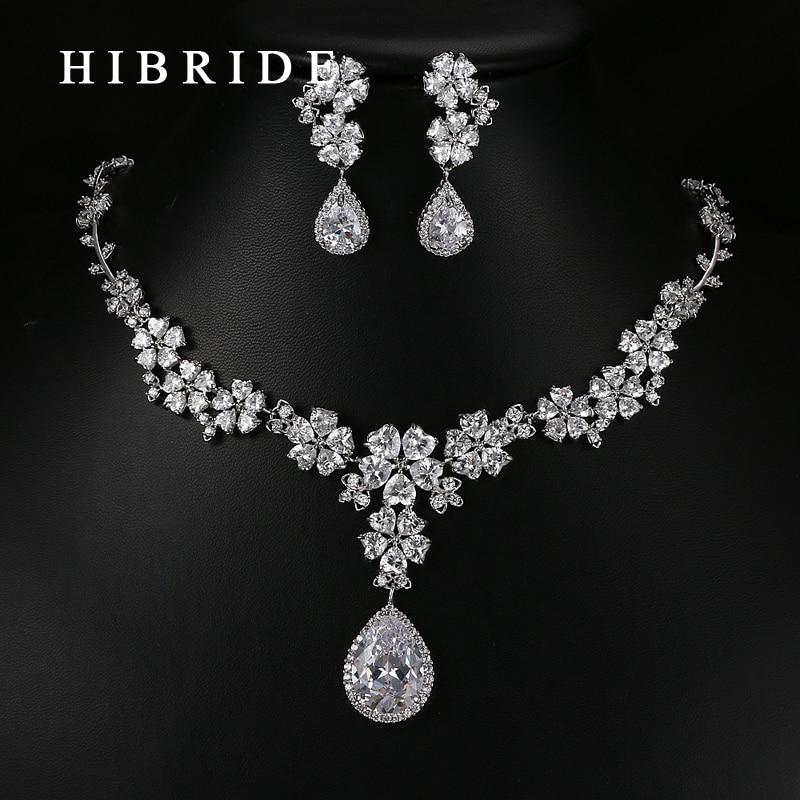 HIBRIDE font b Luxury b font Style Pear Cut Australian Crystal Pendants Necklace Earrings Rhodium Bridal