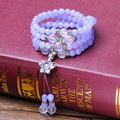 Buddhist Tibetan Decor Prayer beads Bracelet Bangle Buddha Beads Natural Aquamarine Crystal Exquisitemen Jewelry
