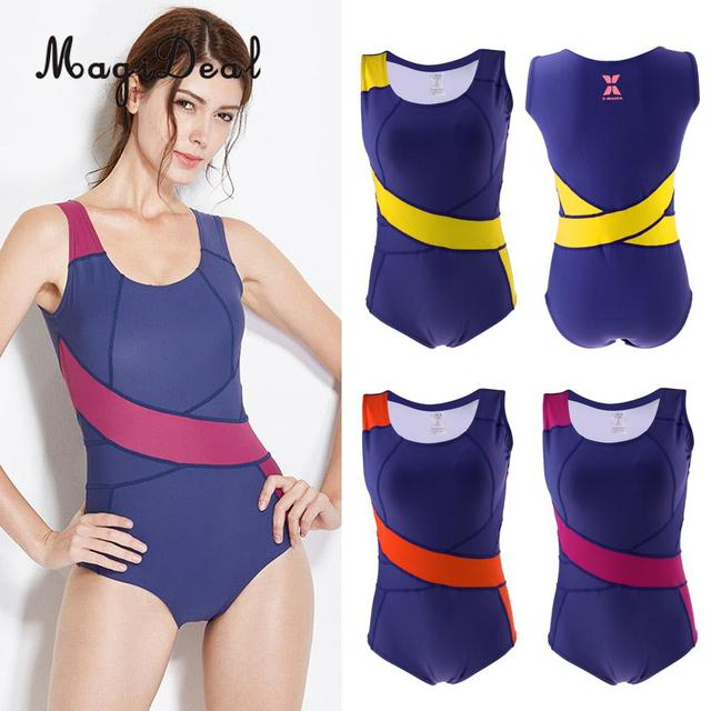 Phenovo Women One Piece Swimsuit Competition Swimming Costume