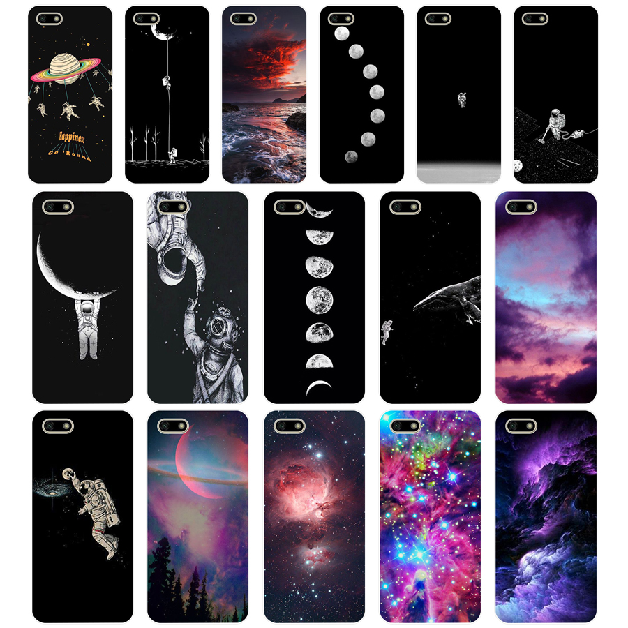 76G space doodles TPU Soft <font><b>Silicone</b></font> <font><b>Case</b></font> For Huawei <font><b>Honor</b></font> 7C <font><b>7a</b></font> <font><b>5.7</b></font> <font><b>inch</b></font> 7x 8x <font><b>7a</b></font> 5.45 Y5 2018 Russian version Cover image