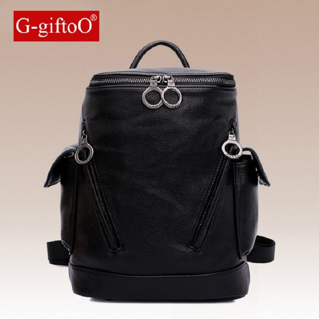 0e8a5f7219 G-giftoO Fashion Genuine Leather Backpack Women Bags Preppy Style Backpack  Girls School Bags Zipper Shoulder Women s Back Pack