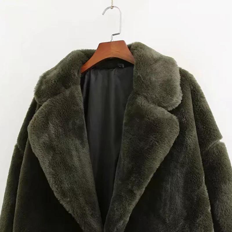 Femmes de fourrure de lapin manteau D'hiver vert faux manteau de fourrure femmes Chaud en peluche manteau à manches longues épaisse fourrure veste long manteau outwear 2019 - 4