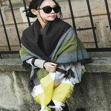 LOVIW Hot Sale Women Winter Cozy Yellow Tartan Plaid Scarf Blanket large wrap shawl Scarf