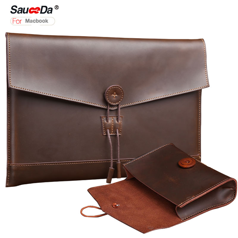 Handmade sleeve For macbook pro 13 case Genuine Leather bag for macbook air 11.6 13 retina pro 15 inch laptop with Charger pouch 2017 newest hot sleeve case bag for macbook laptop air 11 12 13 pro retina 13 3 protecter wholesales drop free shipping