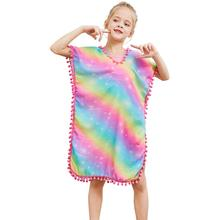 Fioday New Summer Girls Cover-ups Swimsuit Soft Wraps Beach Dress Top with Pompom Tassel Chlid Casual Swimsuits Beachwear
