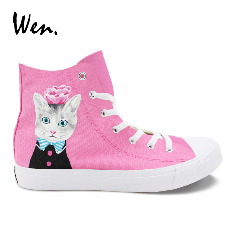 Wen Design Hand Painted Original Shoes Cat with Blue Bow Tie Pink Flower High Top Unisex Canvas Sneakers Boy Girls Sport Shoes
