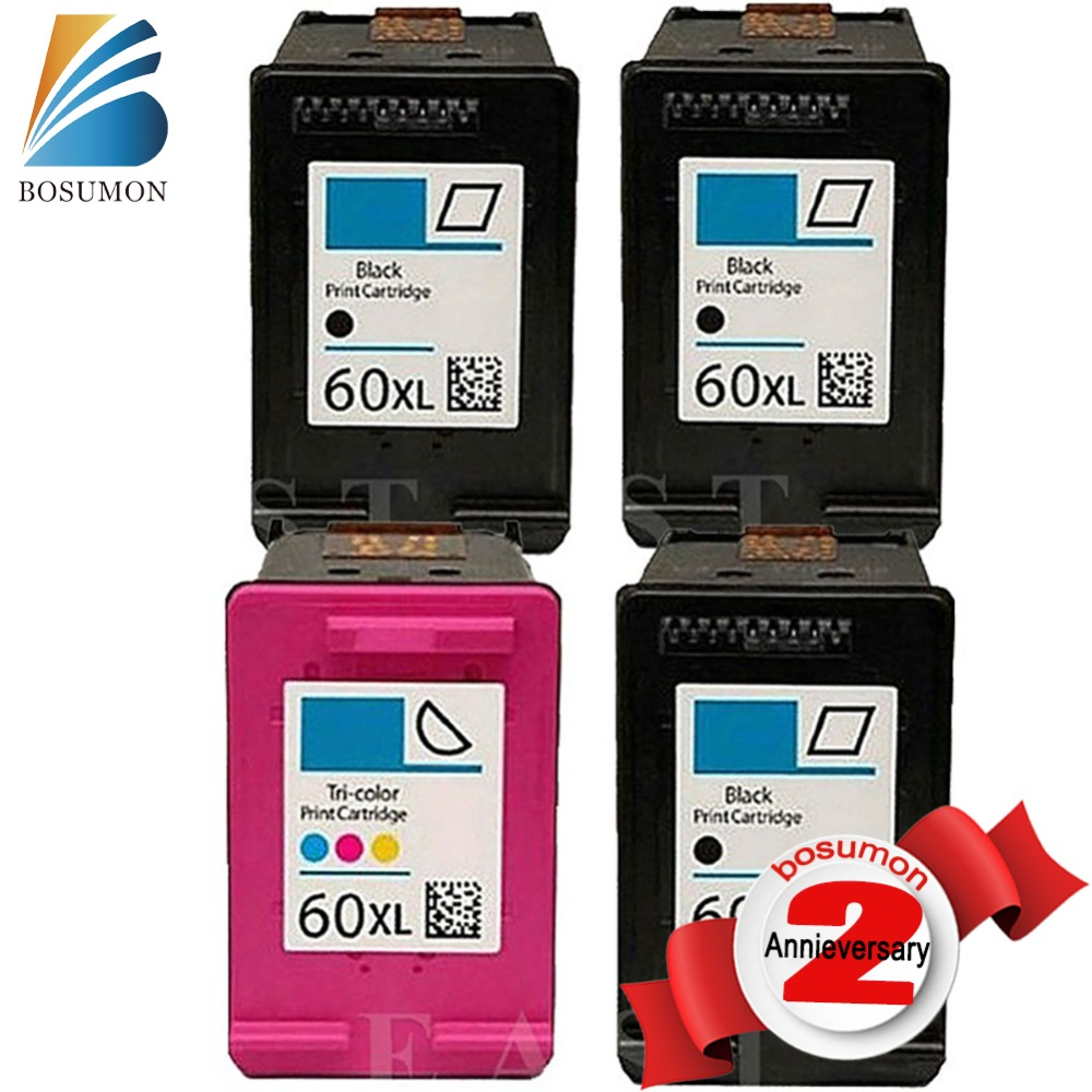 Free shipping Compatible ink cartridge For HP 60XL BK CC641WN and For HP60XL  C4635 color CC644WN C4640 C4650 C4680 printer 2pk for hp 61xl remanufactured ink cartridge bk