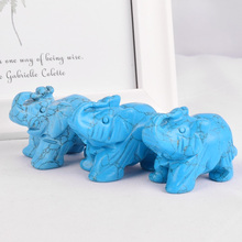 3 pieces mineral healing crystals blue howlite elephant figurines craft carved Mini animal statues for children room decoration