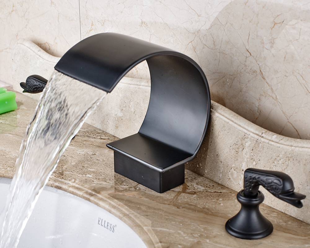 где купить Widespread 3pcs Waterfall Bathroom Sink Faucet Three Holes Mixer Tap Oil Rubbed Bronze Finished по лучшей цене