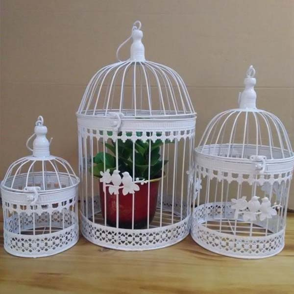 Iron bird cage wall birdcage flower decoration fashion - Cage a oiseaux en bois deco ...