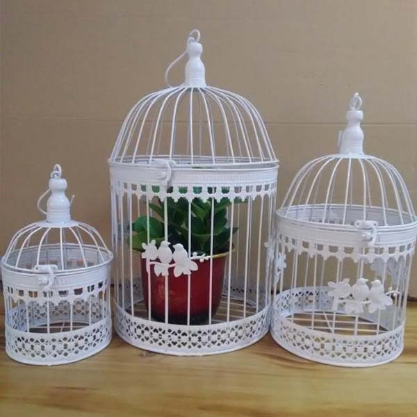 Buy iron bird cage wall birdcage flower for Cage a oiseau decorative