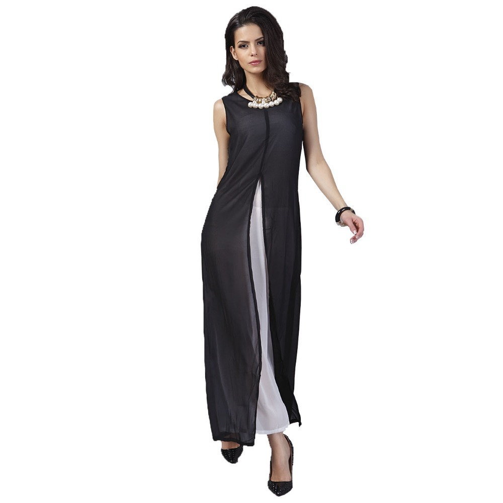 d9c3508675 European Style Women Long Chiffon Dress Summer Patchwork Sleeveless Maxi  Keyhole Back Fork Open Front Dress Vestido Longo 2017
