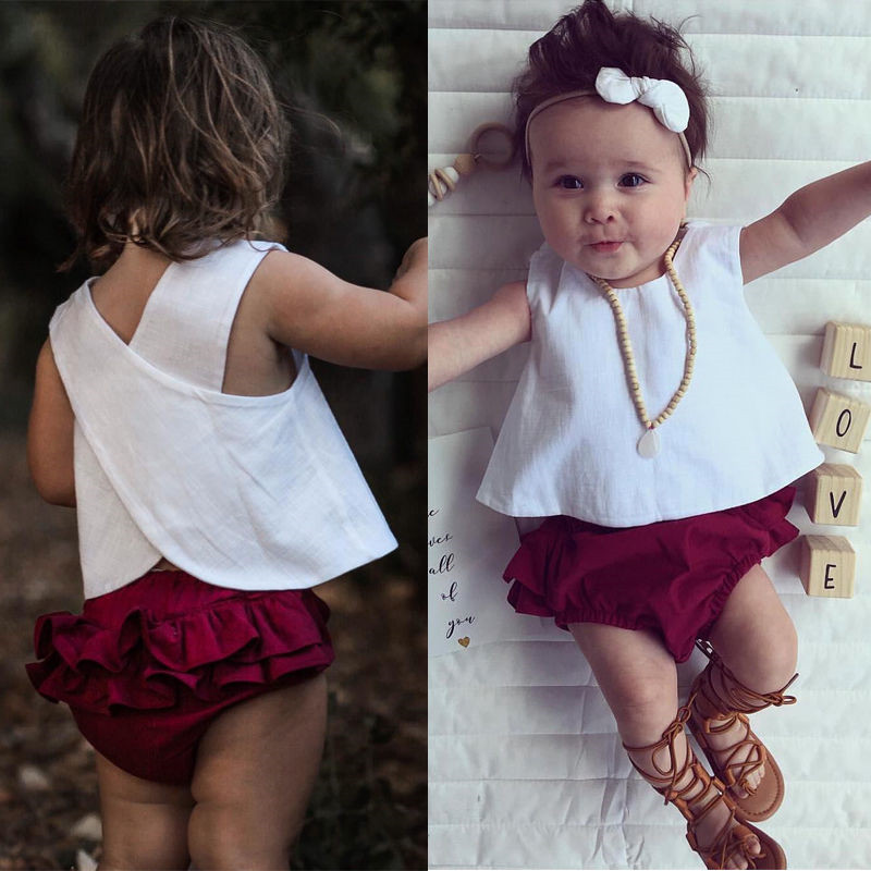 Newborn Baby Girls Feather Tops Vest Pants Shorts Headband Outfits Clothes Set