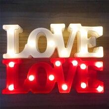 مصباح LED ليلي ثلاثي الأبعاد بحروف حب مصباح بلاستيكي إشارة تاج مصباح LED لتزيين حفلات الزفاف هدية عيد الحب