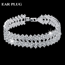 Luxury Crystal Bracelets For Women Silver Bracelets Bangles Femme Bridal Wedding Jewelry 2016 Vintage Bracelet SBR150218