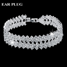 Luxury Crystal Bracelets For Women Silver Bracelets & Bangles Femme Bridal Wedding Jewelry 2016 Vintage Bracelet SBR150218