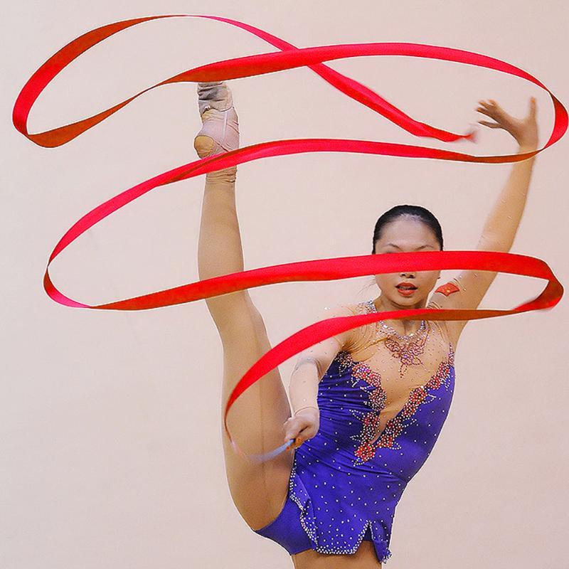4M Tape For Gymnastics Gym Dance Ribbon Artistic Children Girl Belts Rhythmic Gymnastics Tape Ballet Streamer Twirling Rod
