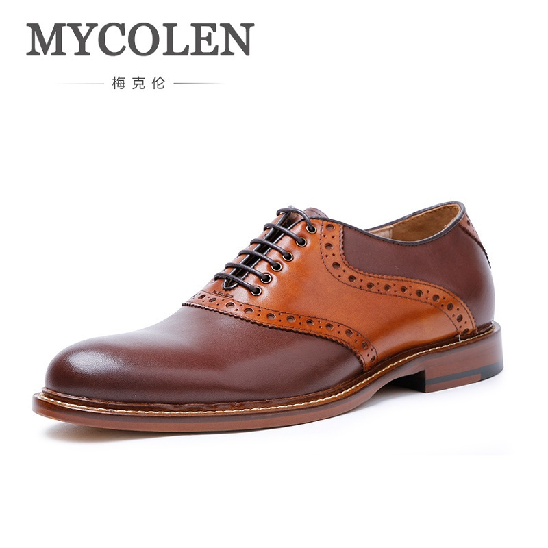 MYCOLEN Round Toe Brogues Oxford Lace-Up Hand-Painted Brown Goodyear Welted Craft Genuine Calf Leather Men Shoe Chaussure Hommes keddo womens lace up brogues