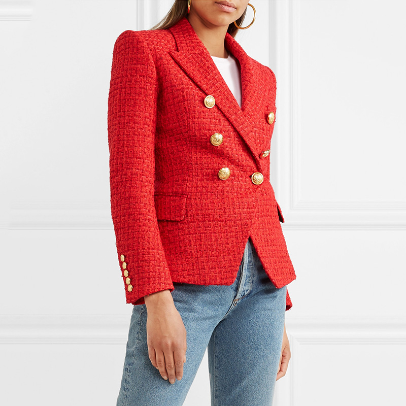 Autumn Spring Designing Elegant Women Quality Double Breasted Buttons Notched Weaving Red Casual Blazer Runway Coat