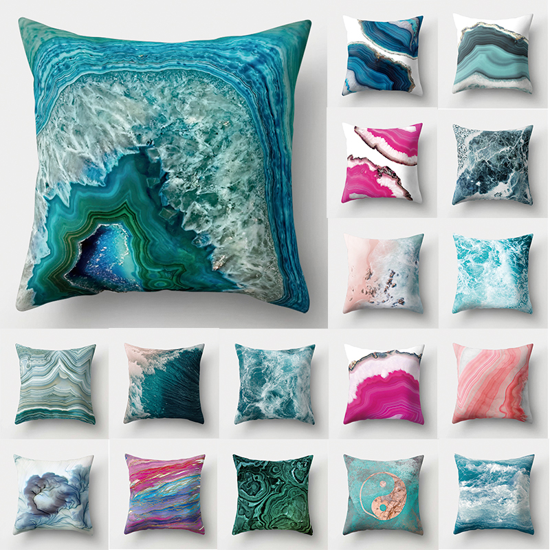 1Pcs Ocean Sea Blue Pattern Polyester Throw Pillow Living Room Cushion Cover Home Decoration Sofa Decorative Pillowcase 40507