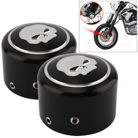 1 Pair Black Aluminum Motorcycle Front Axle Nut Cover With Skull Pattern And Screws For Harley