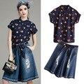 2016 Outono Europa Moda Conjuntos das Mulheres da Forma Do Coração de Impressão Camisa + Buraco Denim Perna Larga Calça Jeans Senhoras Terno Ocasional JA1078